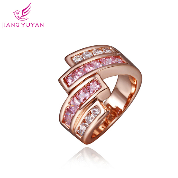 Hot 2014 Fashion Romatic Wedding Ring Women Engagement Gift Luxury Rings 18KGP Rose gold Plated Zircon Gorgeous - Guangzhou PinCe household products co., LTD store