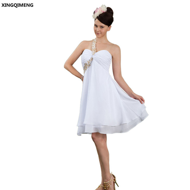 4ca145592f94 Abiti Da Cocktail bianco Knee-lunghezza Chiffon Elegante Vestito Da  Cocktail Corto Backless Formale Abito