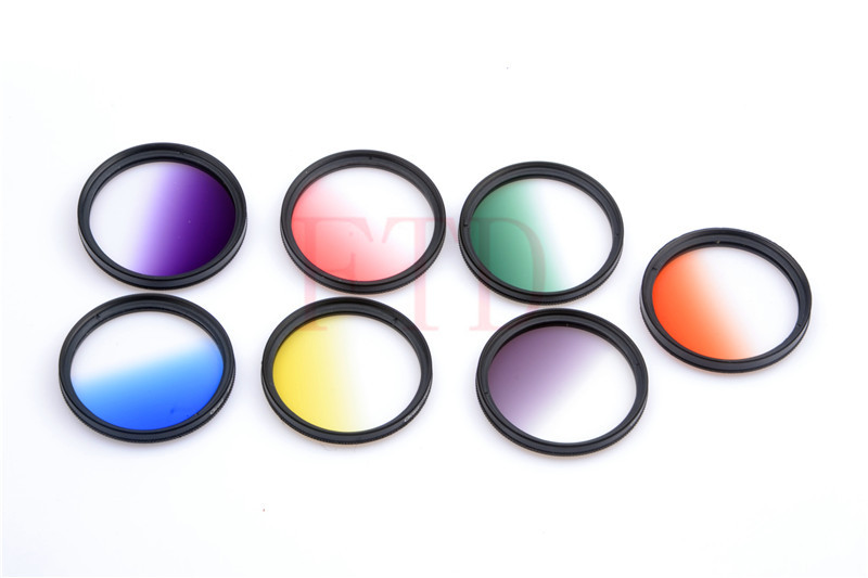7pcs/lot 37mm Rotating Gradual grey green orange yellow red blue purple Grad color Lens Filter Kit for Canon EOS 60D 70D lens fujimi grad grey 67mm