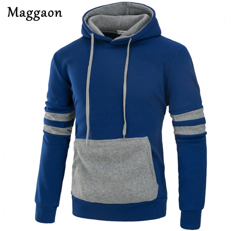 New Mens Hoodie Sweat Men 2018 Autumn Winter Male Sweatshirt Teenage fashion Casual Hoody Jacket Slim Patchwork Color Coat