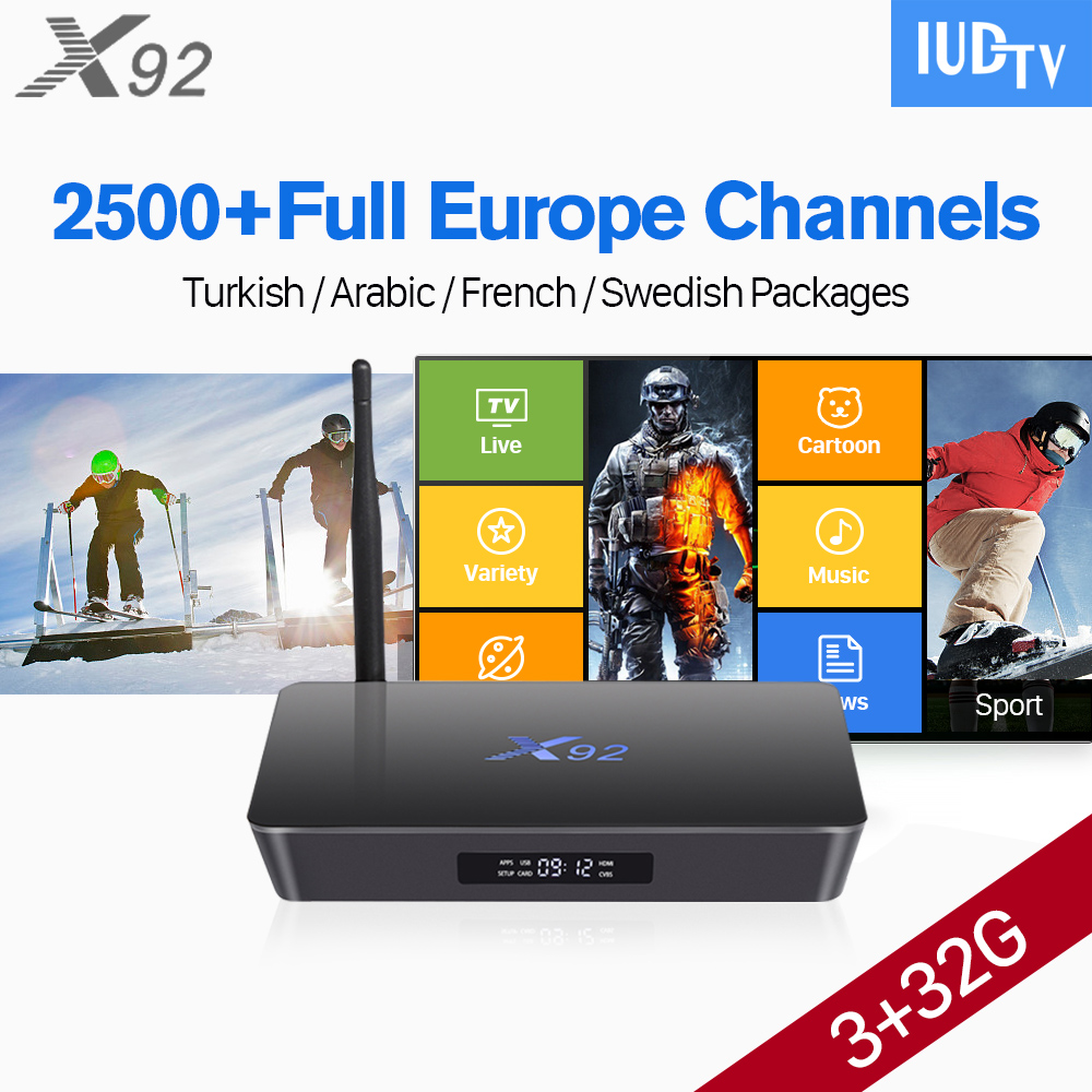 Android 7.1 Smart Europe IPTV Box Octa Core TV Receivers 3GB 32GB IUDTV Account IPTV Europe Arabic IPTV Subscription 1 Year x92 android iptv box s912 set top box 700 live arabic iptv europe french iptv subscription 1 year iptv account code