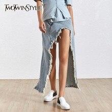 TWOTWINSTYLE falda de vaquero con fleco para mujer, falda de cintura alta con abertura Irregular, faldas de talla grande, ropa de moda para mujer 2020
