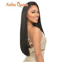 100% de Cheveux Humains Perruque Brésilienne Vierge de Cheveux Soyeux Droite Plein dentelle Perruques/Sans Colle Pleines Perruques de Lacet Avec Une Frange Pour Noir femmes