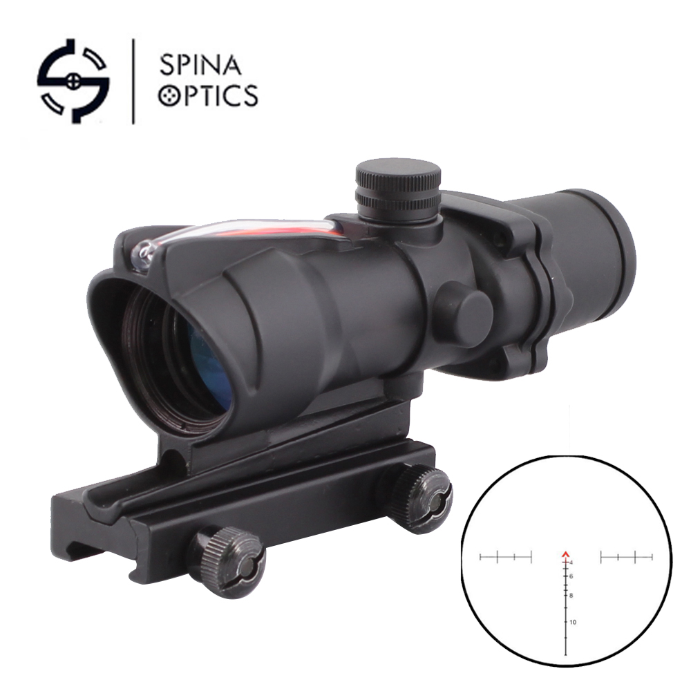 SPINA OPTICS Tactical Hunting Rifle Scope Optic Sight ACOG 4X32 Airsoft Scope Real Red Fiber Riflescope