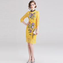 ARiby 2019 Spring New Women Dress Casual Temperament Three Quarter Sleeves Lace Embroidery Empire Knee-Length One-step