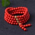 108 unids cinabrio naturales granos de rezo tibetana budista buda pulsera del collar del rosario mujer LuckyBangle amuleto joyería