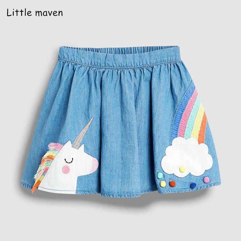 Pequeña maven 2019 nueva ropa de verano para niñas, minifaldas de algodón bordadas con arcoíris animales S0498