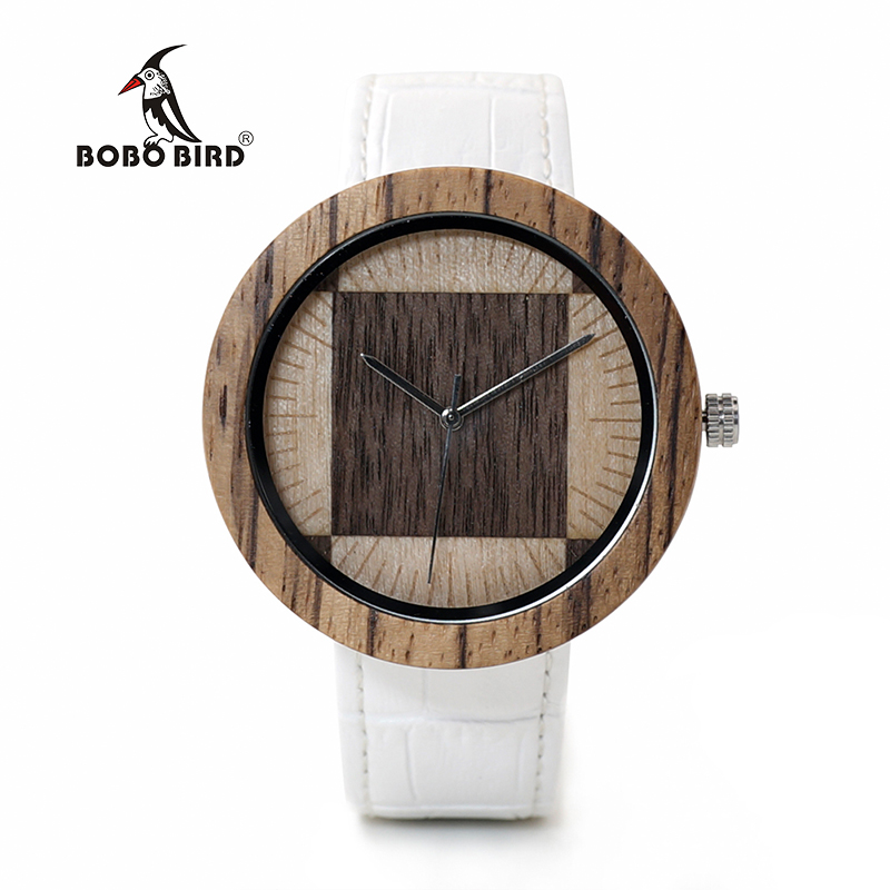 лучшая цена BOBO BIRD WO13O14 Zebra Wenge Wooden Watches for Men Women Two Wood Dial Face Quartz Watch with Wood Box