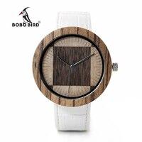 BOBO BIRD WO13O14 Zebra Wenge Wooden Watches For Men Women Two Wood Dial Face Quartz Watch