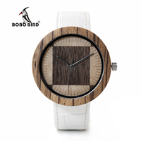 BOBO BIRD WO13O14 Zebra Wenge Wooden Watches For Men Women Two Wood Dial Face Quartz Watch
