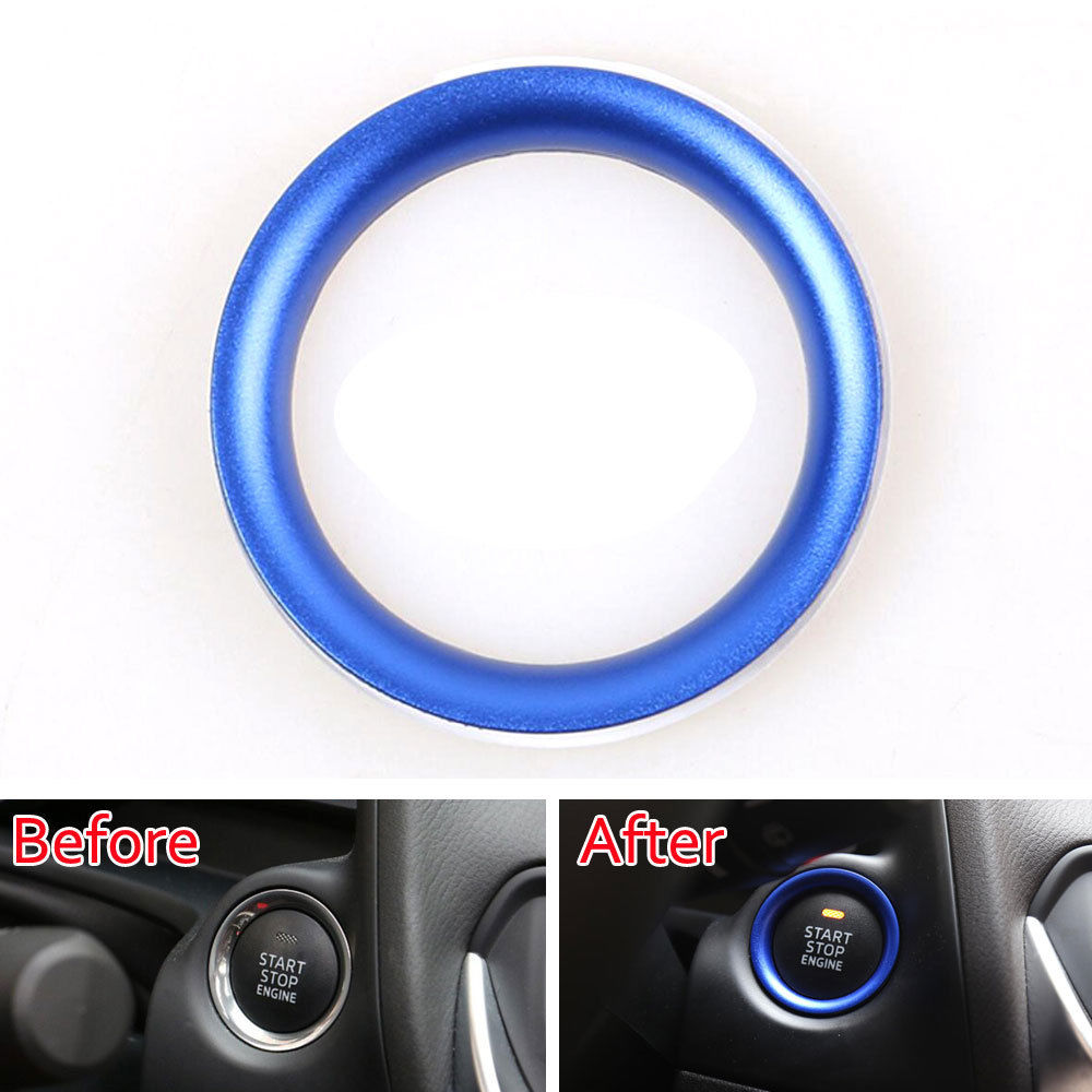 Blue Decorative Power Switch Engine Start/Stop Button Ring Decoration Sticker Fit For Mazda CX 4 CX 5 Car Styling Accessories bjmycyy car styling car button start button decoration ring for mazda cx 5 cx5 2nd gen 2017 2018