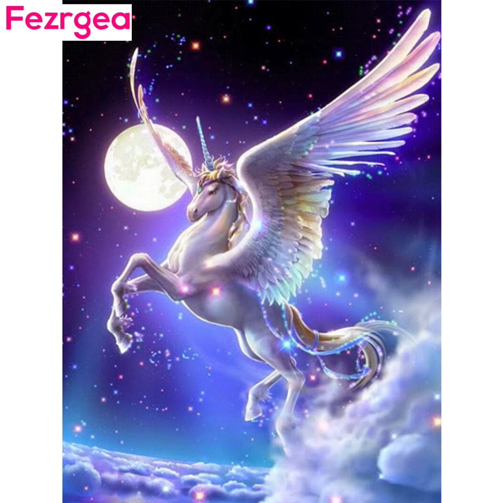 Fezrgea 다이아몬드 페인팅 유니콘 기린 전체 스퀘어 - 예술, 공예, 바느질