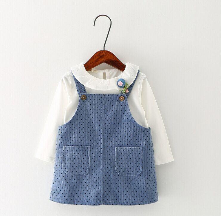 0-2 ans bébé filles automne à manches longues T-shirt et jupe en velours  côtelé + cadeau gratuit 505c5aff7bb