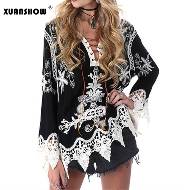 XUANSHOW - New Arrival Sexy VNeck Women's Blouse Embroidery Lace Stitching Women Shirts Casual Bohemia Blusas Mujer