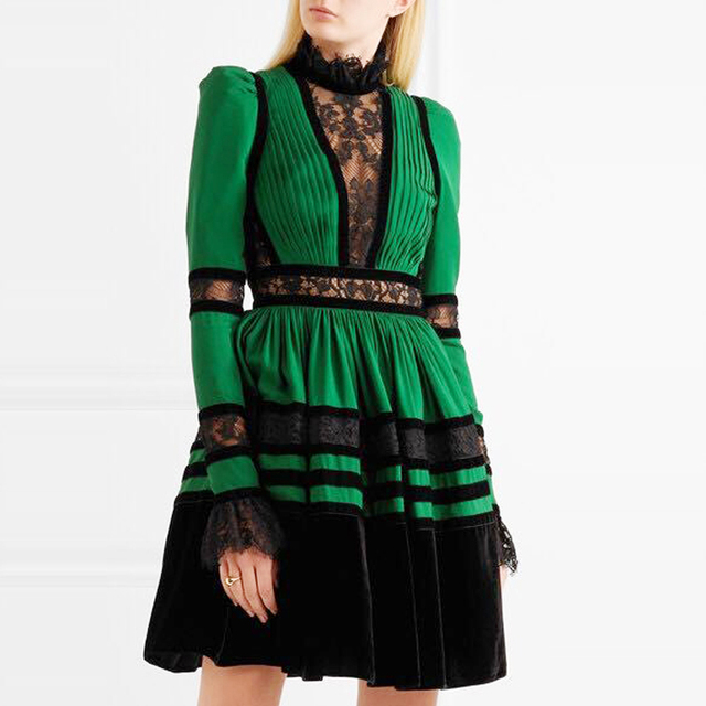 c725a2f21e9 Autumn Winter Vintage Green Lace Patchwork Stand Collar Long Sleeve Velvet  Dress Women High Quality Runway Dress Designers 2018