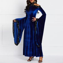Women Plus Size Long Party Dress Elegant Evening Velvet Luxury Fashion Sexy Robe Vintage Flare Sleeve Maxi Dresses Autumn Winter