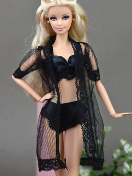 Doll Accessories Black Sexy Pajamas Lingerie Nightwear Lace Long Coat Night Wear + Bra + Underwear Clothes For Barbie Doll