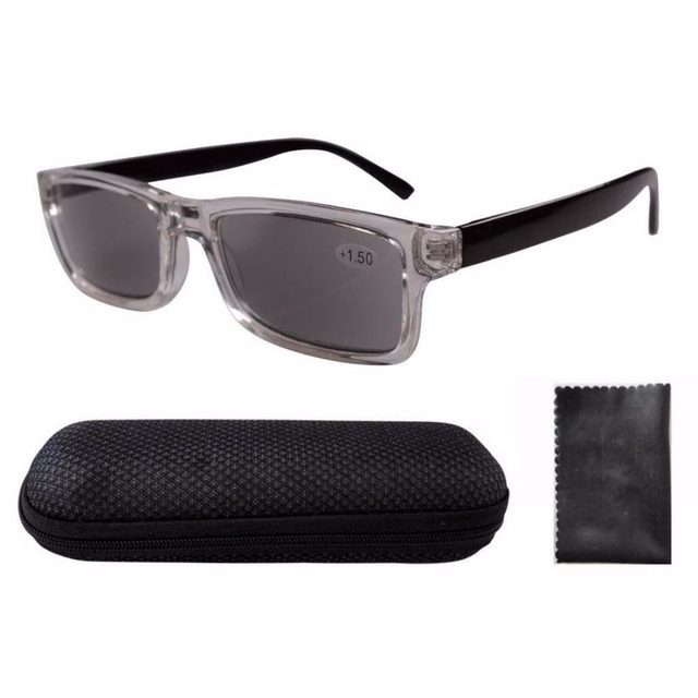 bf213745b00d FR003 Clear Plastic Frame Black Arms Grey Tinted Readers Reading Glasses W  case +1.00---+4.00