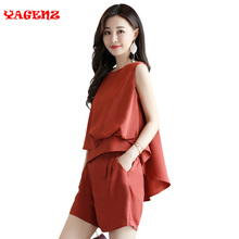 Chiffon two piece set Spring Summer 2Two Piece Suit kits for women Korean set moletom feminino top and shorts fashion runway set