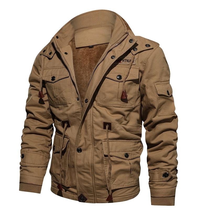 TACVASEN Military Men Jacket Winter Thick Casual Jacket Coat Fleece Pilot Jackets Air Force Cargo Jacket Windbreaker Men's Parka