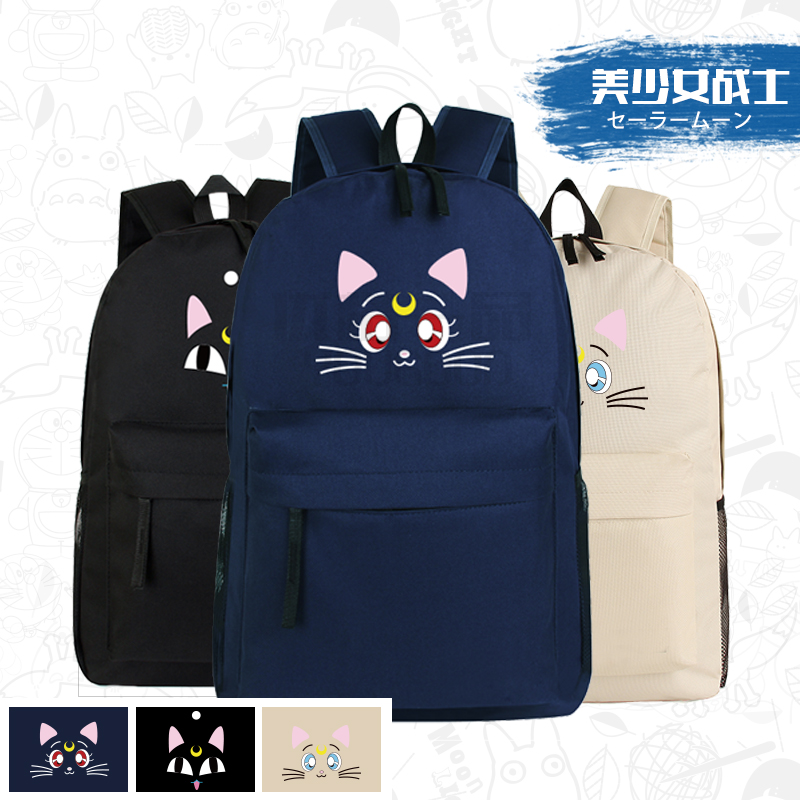 Amine Sailor Moon Kawaii Luna Cat Printed Canvas Backpacks For Teenage Girls Ladies School Bags Mochila Feminina