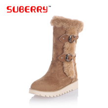 Winter Flock Women's Casual Platform Snow Boots Botas Femininas Women 2016 New Arrival Warm Boots Suede Leather Thick Fur Inside