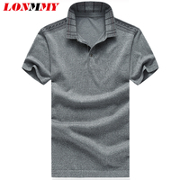 LONMMY Plus size 6XL Polo shirt men Short sleeved natural silk Casual Fashion men clothes Polo shirts men Red Gray 2018 Summer