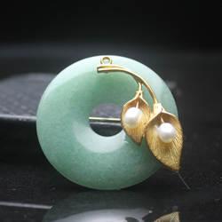 Amxiu ручной работы натуральный AAA Dongling желтовато-зеленая брошь натуральный жемчуг мира пряжкой позолоченные контакты аксессуары двойного
