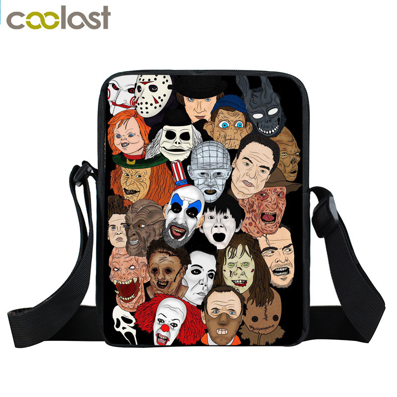 Classic Horror Movie Character Michael Myers / Jason / Freddy Krueger / Chuck Messenger Bag Boys School Bags Kids Crossbody Bag anime attack on titan mini messenger bag boys ataque on titan school bags mikasa ackerman eren shoulder bags kids crossbody bag