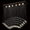 Современная хрустальная проволочная Подвесная лампа GU10  роскошная Подвесная лампа с каплями дождя  светильник для отеля  виллы  лестницы  ф...