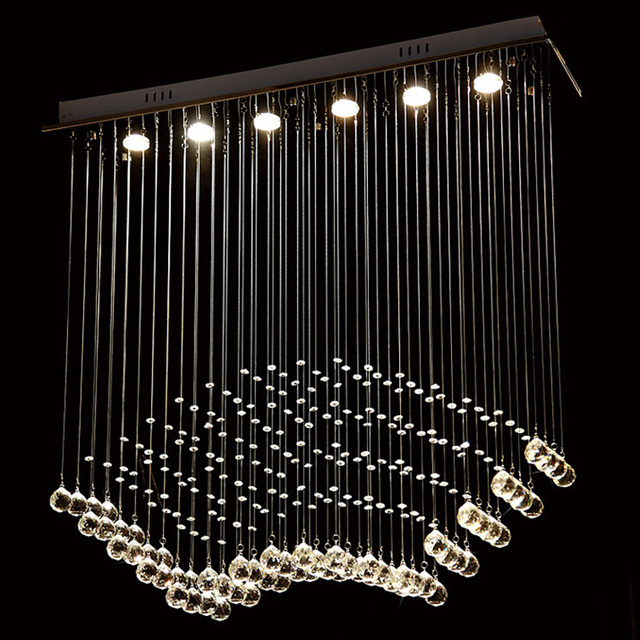 Modern Crystal Wire Hanging Lamp Gu10 Bulb Luxury Raindrop Pendant Light Hotel Villa Staircase Lobby Foyer
