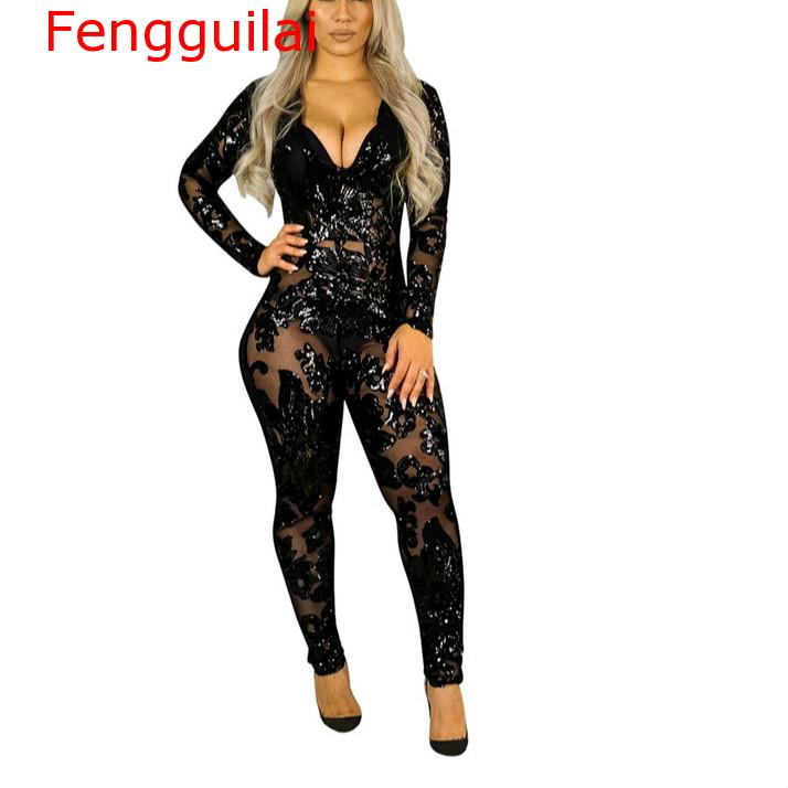 Fengguilai Long Sleeve Black Perspective Sequins Rompers Womens   Jumpsuit   Bandage Bodycon Bodysuit Sexy Club Wear Deep V Neck