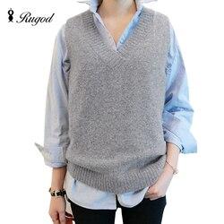 Жилет с v-образным вырезом, вязаные свитера, женские модные осенне-зимние пуловеры без рукавов, Женские однотонные пуловеры, трикотаж, Vesten ...