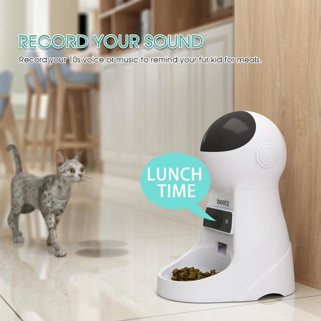 Iseebiz EU/JP/US 3L Pet Feeder Wifi Remote Control Smart Automatic Pet Feeder Dogs Cat Food Rechargable With Video Monitor 1