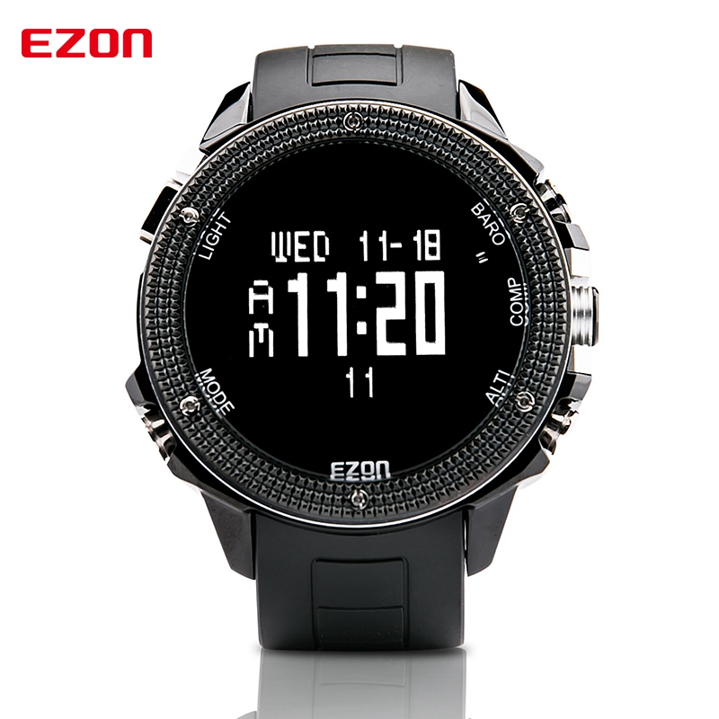 EZON Altimeter Barometer Thermometer Compass Weather Forecast Outdoor Men Digital Watches Sport Clock Climbing Hiking Wristwatch top brand ezon h506 outdoor hiking mountain climbing sport watch men s digital watches altimeter compass barometer