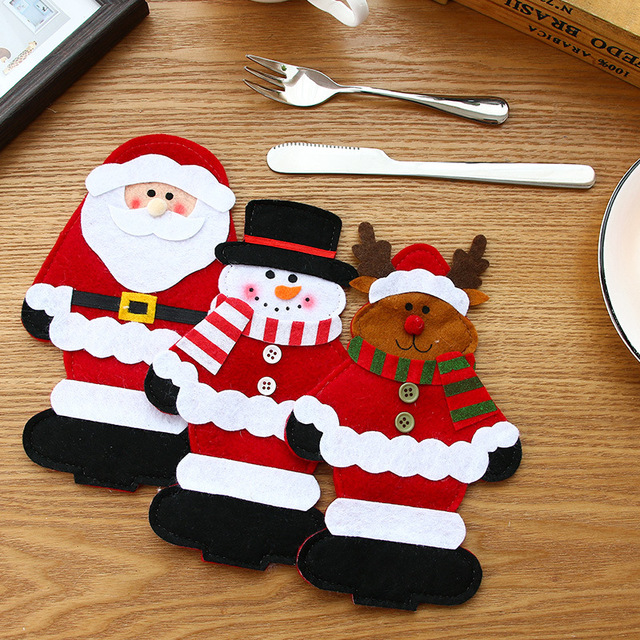 Christmas Dinner Party Table Decorations for Santa Claus Snowman Silverware Cover Holders Tableware Knife Forks Bags SD181