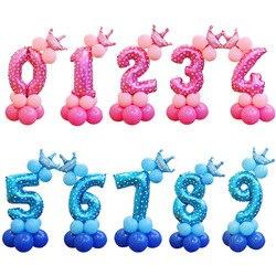 13 teile/satz Geburtstag Luftballons Blau Rosa Anzahl Folien Ballons 1 2 3 4 5 6 7 8 9 Jahre Glücklich geburtstag Party Dekorationen Kinder ballon