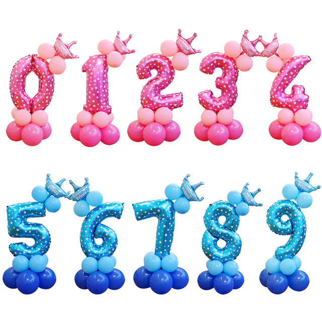 13pcs Set Birthday Balloons Blue Pink Number Foil 1 2 3 4 5 6 7 8 9 Years Happy Party Decorations Kids Ballon