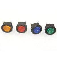 100 pcs Vermelho verde azul amarelo LED Iluminado 24 v Interruptor 20 Ampères DC, rodada Luz 24 V Volt Carro Kit