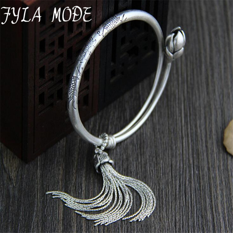 Summer Handmade Bracelet Women Bohemian Brand Bangle Tassel S990 Bracelets Fish Lotus Carved Jewelry For Girl Wholesale 5mm 36G magic fish bracelets