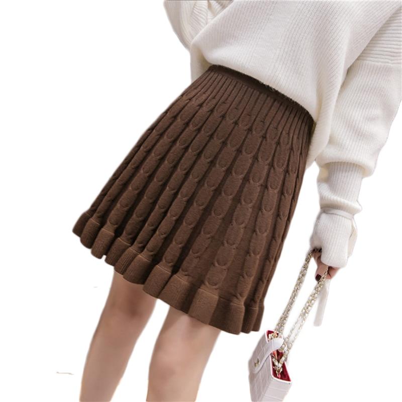 2018 Autumn Winter Women Mini Knitted Skirt Hemp Pattern ...