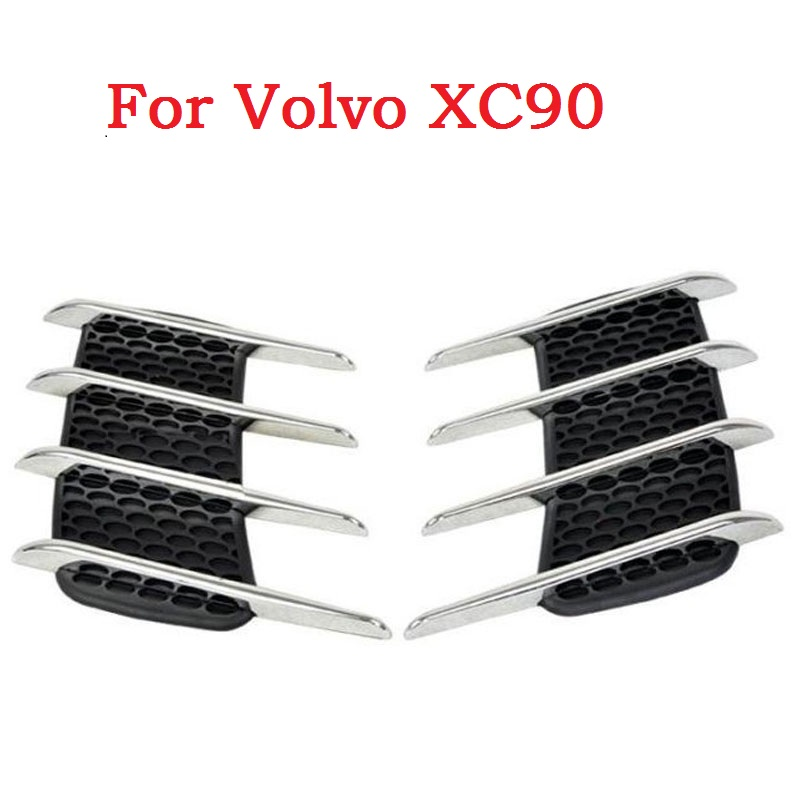 car styling Car sticker Shark gills outlet decoration side draught hood vents air intake engine cover modified for Volvo XC90 bjmycyy aluminum alloy air outlet chrome trim ring car dashboard air vents cover decoration for audi a3 s3 2013 2016 q2 2017
