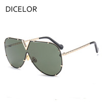 DICELOR Round Sunglasses Women Mirrored Sunglasses Sun Glasses Female Oval Alloy Frame Mirror Lens Men Women