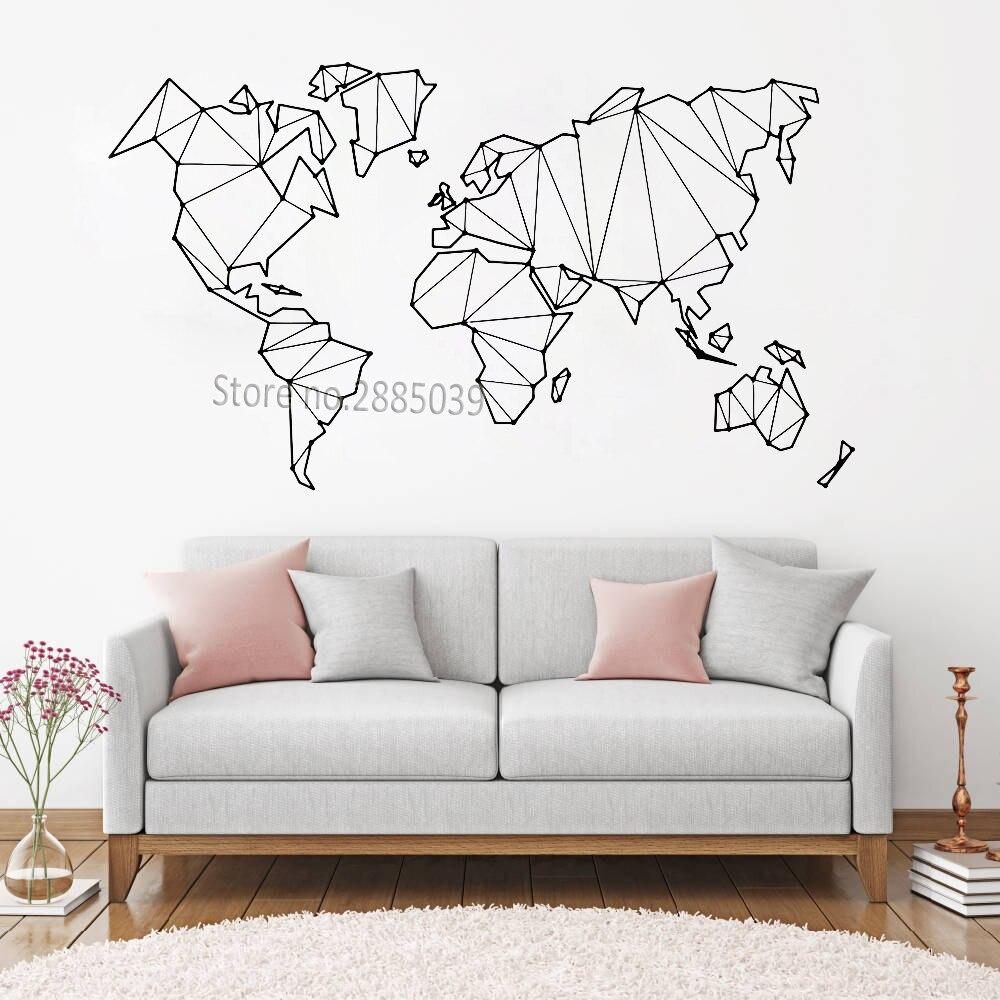 Stickers Muraux Carte Du Monde.4 53 26 De Reduction Chaud Carte Abstraite Monde Geographie Stickers Muraux Pour Salon Chambre Vinyle Terre Autocollant Decor A La Maison Amovible