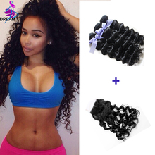 Remy Queen Hair Products Indian Deep Wave 100 Virgin Human Hair 3 Bundles With Closure Indian