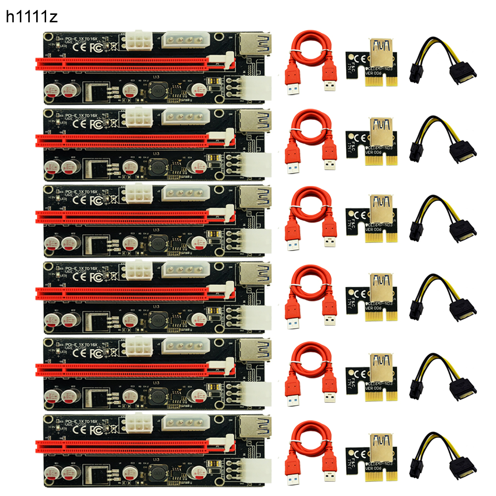 6pcs 009S LED USB 3.0 PCI-E Express 1X 4x 8x 16x Extender Riser Adapter Card SATA 15pin Male to 6pin Power Cable for BTC Mining wholesale usb 3 0 pci e express 1x 4x 8x 16x extender riser adapter card sata 15pin male to 6pin power cable 10pcs lot 006c page 7