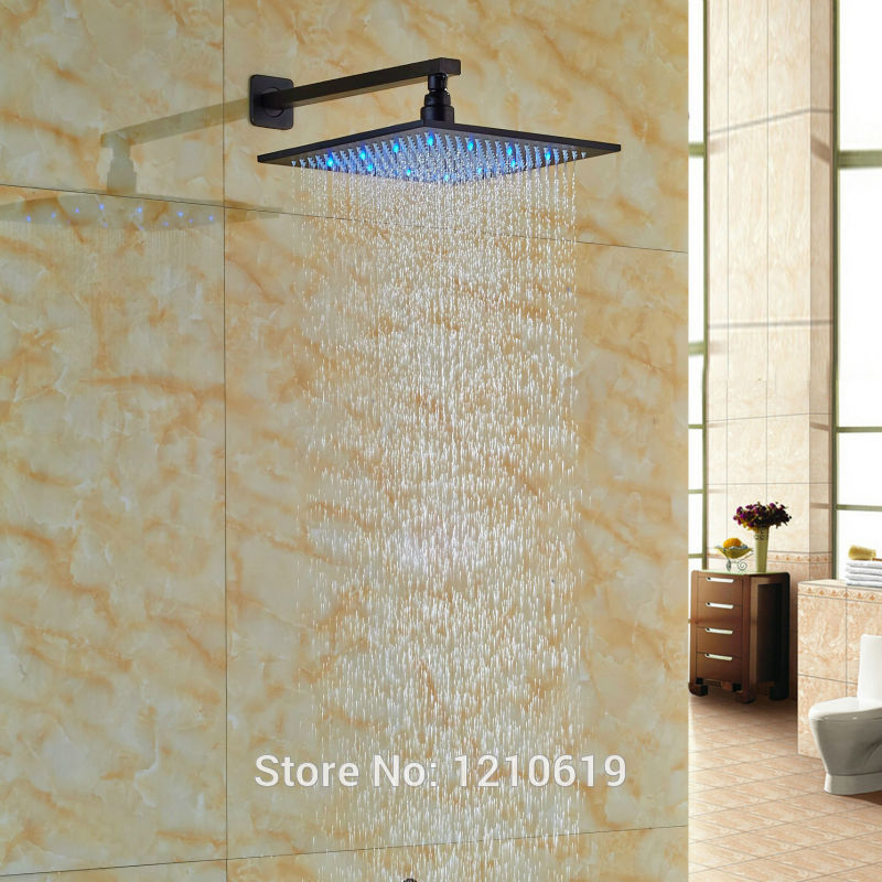 Newly Color Changing LED Bathroom Shower Head Oil Rubbed Bronze 12 Square Top Shower Spray Head w/ Arm 8 square led color changing shower head wall mount bathroom top head brass shower arm
