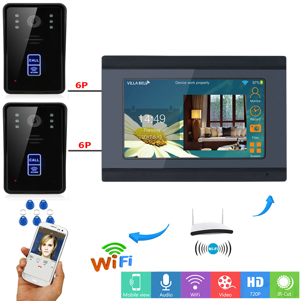 YobangSecurity RFID Access Camera 7 Inch LCD Wifi Wireless Video Door Phone Doorbell Intercom 2 Camera 1 Monitor KIT APP Control