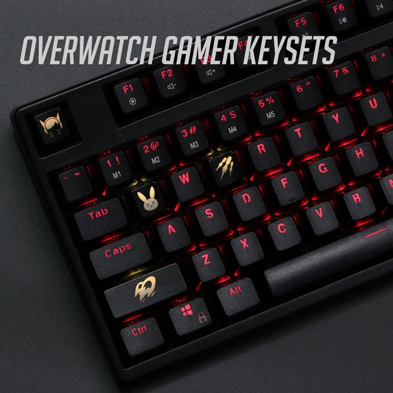 4 Pcs/set Keysets Backlight OW Key Caps ABS Etched  Keycap Shine-through For Overwatch Gamer Mechanical Keyboard ANSI Black