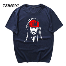 Tsingyi Summer Pirate of the Caribbean Captain Jack Funny T Shirt Men 100% Cotton O-Neck Short Sleeve Tee Shirt Homme Asia Size